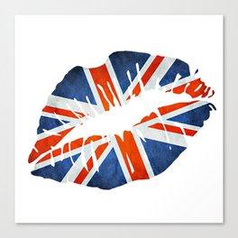 Union Jack Flag Lips Canvas Print