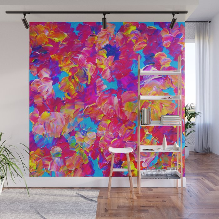 Floral Fantasy Bold Abstract Flowers Acrylic Textural Painting Neon Pink Turquoise Feminine Art Wall Mural By Ebiemporium