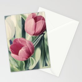 Twin Tulips in Pastel Pink Stationery Cards