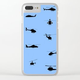 Helicopter Pattern Clear iPhone Case