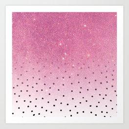 Black white polka dots pink glitter ombre Art Print