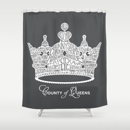 County of Queens | NYC Borough Crown (WHITE) Shower Curtain