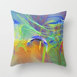Chaotic worlds collide Throw Pillow