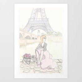 Paris Eiffel Tower with Fashionable View Art Print