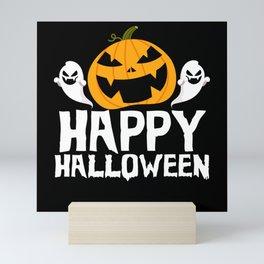 Halloween pumpkin ghost horror monster Mini Art Print