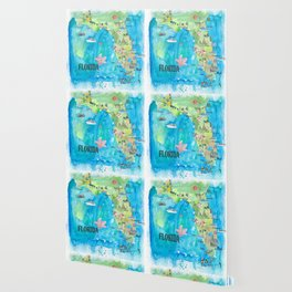 USA Florida State Fine Art Print Retro Vintage Map with Touristic Highlights Wallpaper