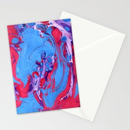 Handmade pink blue marble texture Stationery Cards
