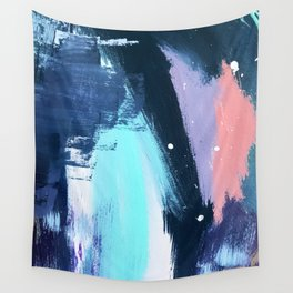 Playful [3]: a bold abstract piece in vibrant blues, pink, purple and white Wall Tapestry