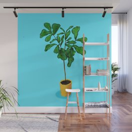 Fiddle fig leaf tree with blue background Wall Mural