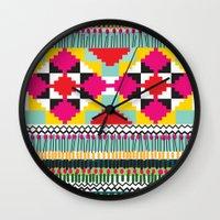 ethnic Wall Clocks featuring Ethnic by Maria Blanco