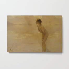 September Morn by Paul Émile Chabas, 1912 Metal Print