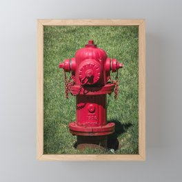 Red East Jordan Iron Works Fire Hydrant Fluted Fireplug Framed Mini Art Print