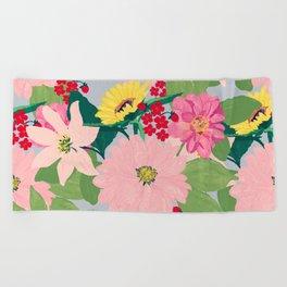 Elegant Watercolor Sunflowers Blush Floral Gray Design Beach Towel