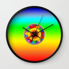 Ohm with Chakra Colours Wall Clock
