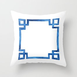 Watercolor Greek Key Throw Pillow