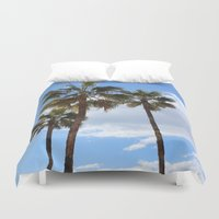 palm trees Duvet Covers featuring Palm Trees by Rebecca Bear