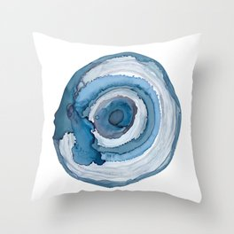 Blue Agate Painting Throw Pillow