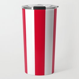 Medium candy apple red - solid color - white vertical lines pattern Travel Mug