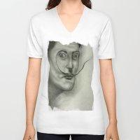 salvador dali V-neck T-shirts featuring Salvador Dali by Jennifer Lynn
