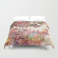 sydney Duvet Covers featuring Sydney by MapMapMaps.Watercolors