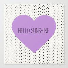 Hello Sunshine Purple Heart and dots Canvas Print
