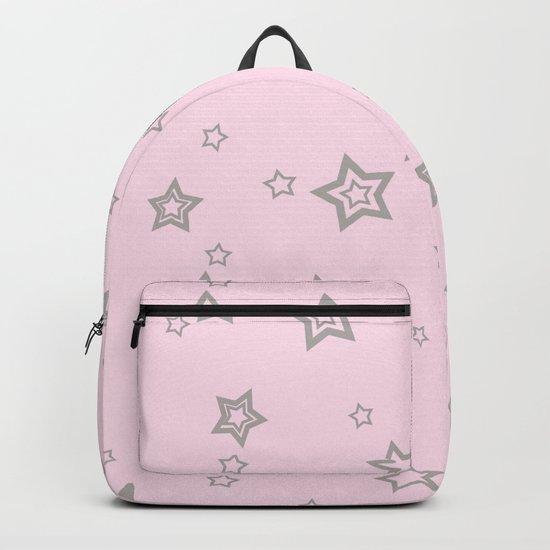 Grey little stars on pink background Backpack