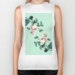 Roses Mint Green + Pink Biker Tank