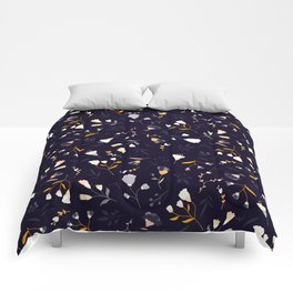 Small flowers on dark background Comforters