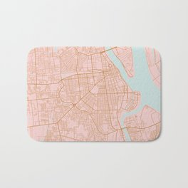 Pink and gold Phnom Penh map, Cambodia Bath Mat