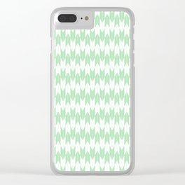 Mint Green Yabane Pattern Clear iPhone Case