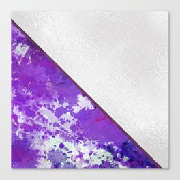 Abstract violet lilac white watercolor paint splatters Canvas Print