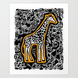 Orange Giraffe Art Print