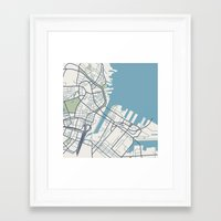 boston map Framed Art Prints featuring Boston Map by Sophie Calhoun