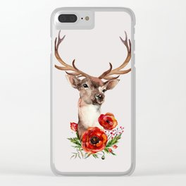 Deer with flowers 2 Clear iPhone Case