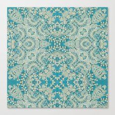 floral lace on blue Canvas Print