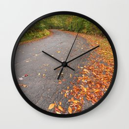 Winding Autumn Forest Road Wall Clock