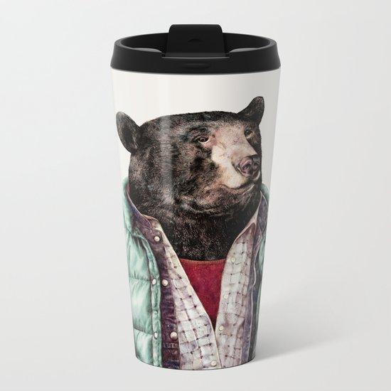 Black bear Metal Travel Mug