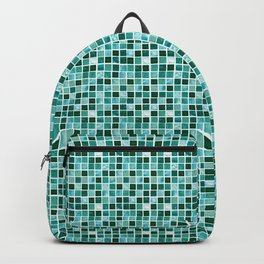 blue colorful geometric tiles pattern Backpack
