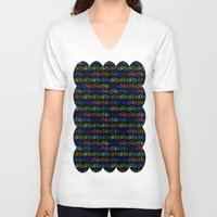 bicycles V-neck T-shirts featuring Colorful Bicycles DARK by MICHELLE MURPHY