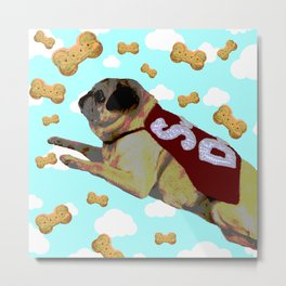 Super Pug Saves All Metal Print
