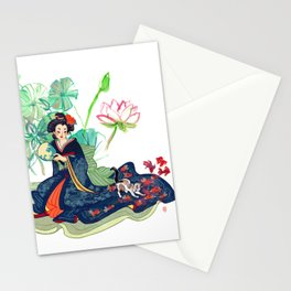 Geisha and cat Stationery Cards