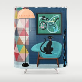 Creature Comforts Mid-Century Interior With Black Cat Shower Curtain