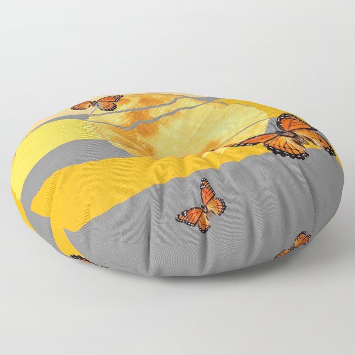 MOON & MONARCH BUTTERFLIES DESERT SKY ABSTRACT ART Floor Pillow
