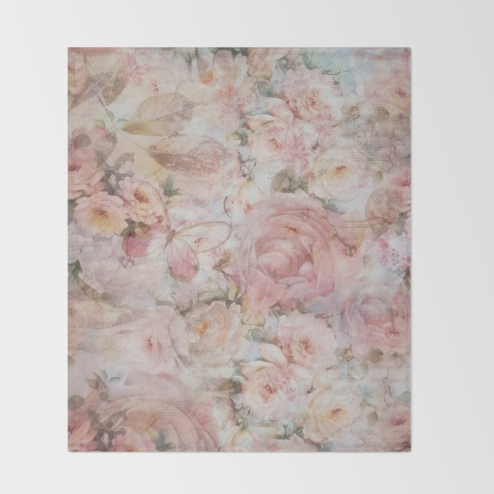 Vintage Elegant Blush Pink Collage Floral Typography Throw Blanket Gorgeous Blush Pink Throw Blanket