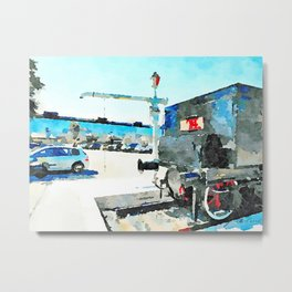 Pescara: steam locomotive in the station square Metal Print