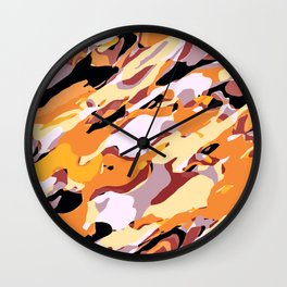 black orange brown and purple camouflage painting background Wall Clock