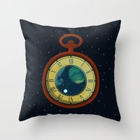pocket Throw Pillows featuring Cosmic Pocket Watch by badOdds