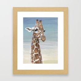 Giraffe Against A Blue Sky Framed Art Print