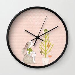 Christmas Bunny & Tree Wall Clock