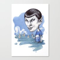 spock Canvas Prints featuring spock by ElenaTerrin